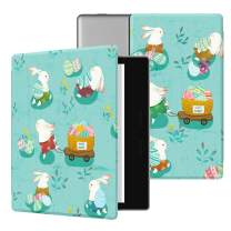 Ayotu Colorful Case for All-New Kindle Oasis (10th Gen, 2019 Release & 9th Gen, 2017), Premium PU Leather Cover with Auto Wake/Sleep, Strong Adsorption for 7''Kindle Oasis, Happy Rabbit