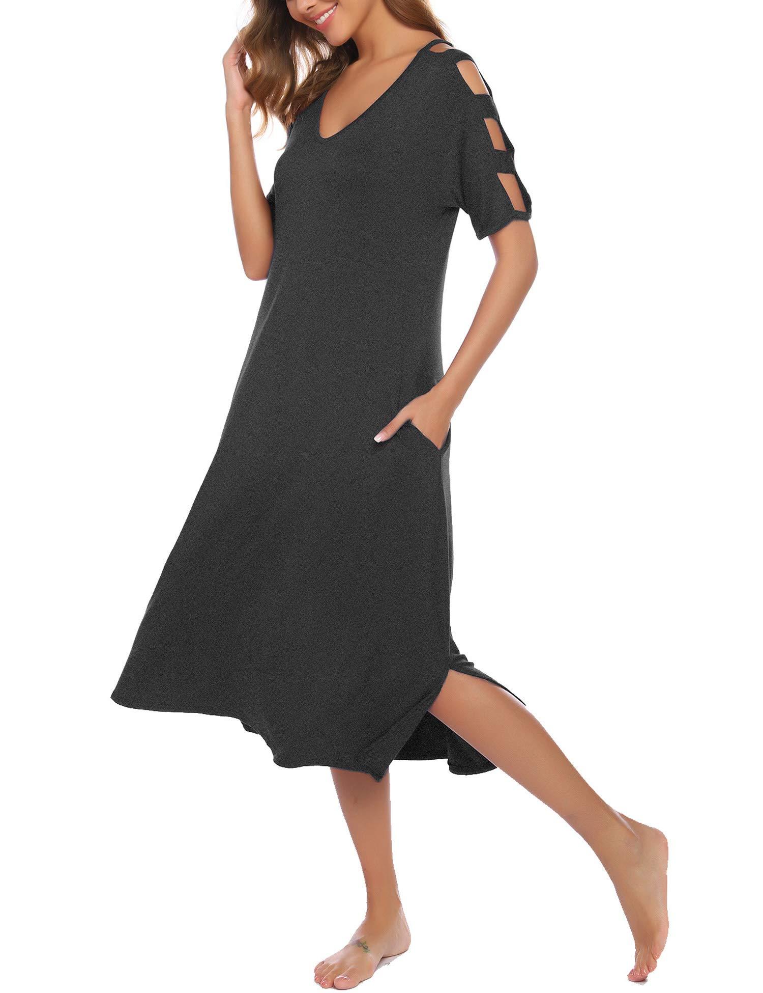 Bloggerlove Loungewear Women's Nightgown Short Sleeve Sleepshirt V-Neck Sleepwear Plus Size Sleep Dress