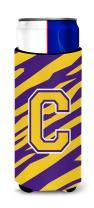 Monogram - Tiger Stripe - Purple Gold  Letter C Ultra Beverage Insulators for slim cans CJ1022-CMUK