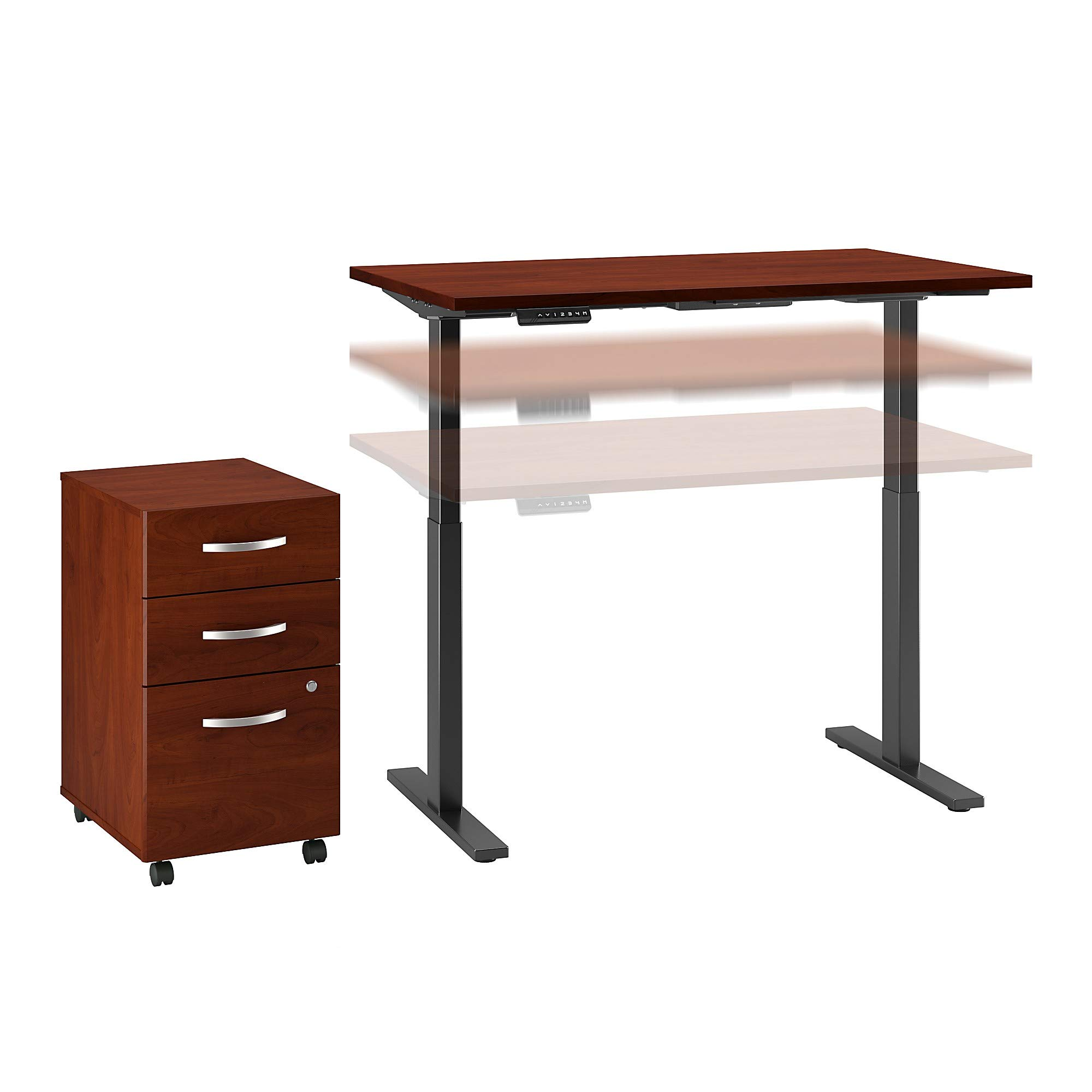 Move 60 Series 48W x 30D Height Adjustable Standing Desk with Storage in Hansen Cherry with Black Base