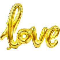 Large Gold Foil Love Balloons Banner,42 Inch Mylar Foil Letters Balloons Reusable Ecofriendly Material for Wedding Bridal Shower Anniversary Engagement Party Decorations Supplies