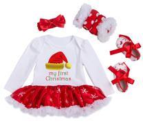 Happy Cherry Baby Girls Christmas Long Sleeves Tutu Dress Romper Outfit 4Pcs Set