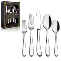 LIANYU Heavy Duty Silverware Cutlery Set, 20-Piece Stainless Steel Flatware Set For 4, Heavy Weight Eating Utensils Tableware, Mirror Polished, Dishwasher Safe