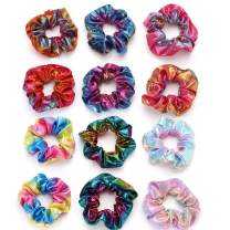 Unicra Shiny Metallic Scrunchies Rainbow Hair Ties Radiation cloth Gradient Color Hair Accessories for Women and Girls 12PCS