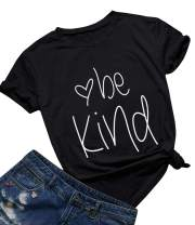 Qrupoad Women Be Kind T Shirt Be Kind to Black Kindness Inspirational Graphic Tee Christian Shirts Tops