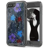 SEYMAC stock iPhone 8 Plus Flower Case, Clear Flexible TPU Bumper Protection Shockproof Case with Dried Real Flowers Girls Glitter Floral Case for iPhone 6 Plus/6s Plus/7 Plus/8 Plus(Black)