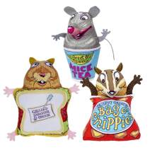 FUZZU Fluffy's Snack Bar Cat Toys with U.S. Grown Certified Organic Catnip Collection – Set of 3: Grilled Hamster and Cheese, Bag O' Chippies, and Mice Tea