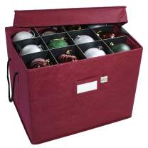 Christmas Ornament Storage Box with Adjustable Acid-Free Dividers, 3 Removable Trays with Handles, 17 Inch x 13 Inch x 13 Inch, Holds 36 - 4 Inch Ornaments