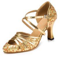 Minishion Women's T-Strap Closed Toe Glitter Latin Salsa Dance Shoes QJ6133