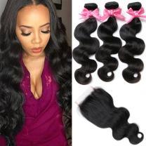 "Brazilian Virgin Hair 3 Bundles with Closure Brazilian Body Wave 8A 100% Unprocessed Human Hair bundles With Lace Closure Natural Black Color by YAVVE (14"" 16"" 18""+14""closure, Free Part)"