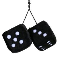 MR CARTOOL 3 inch Pair of Retro Square Mirror Hanging Dice Couple Fuzzy Plush Dice with Dots for Car Interior Ornament Decoration Black