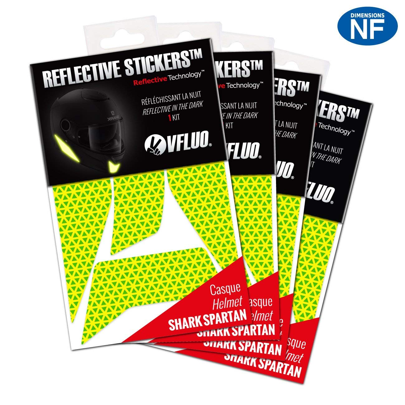 VFLUO SPARTAN. (Set of 4) retro reflective 4 stickers kit made for SHARK SPARTAN and adaptable to all helmets. 3M Technology. Fluo Yellow