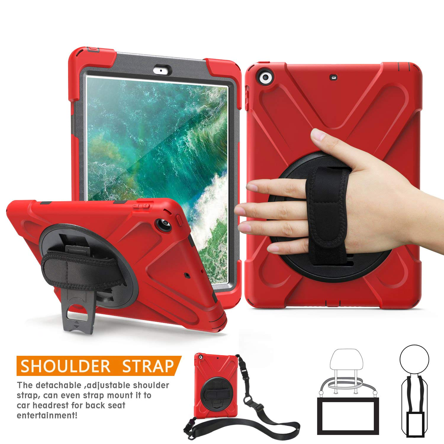 TSQ 6th Generation iPad Case with Strap, Hybrid Heavy Duty Dropproof Silicone Rugged Protective Case with Stand/Hand Strap/Shoulder Strap/Screen Protector for iPad 9.7 Inch Tablet 2018 for Kids,Red