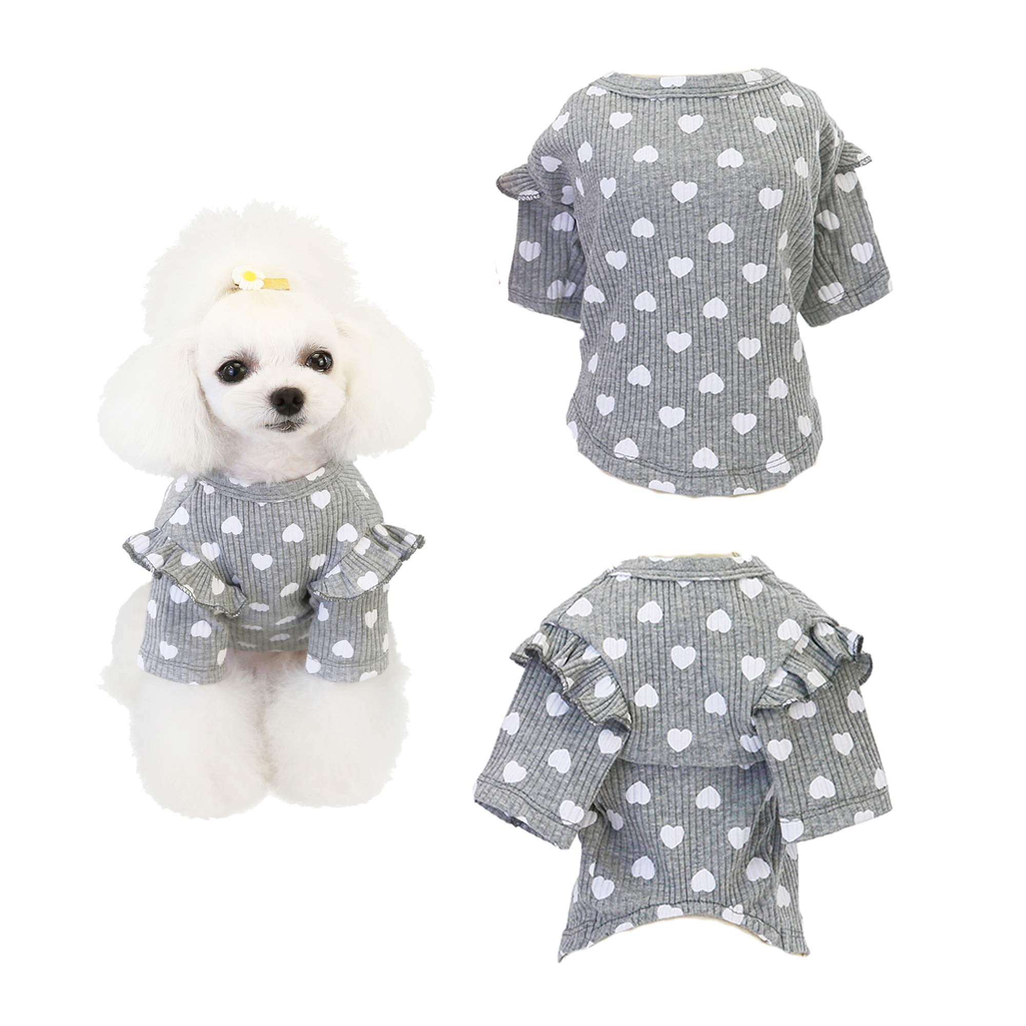 Xqpetlihai Dog Shirt with Short Sleeve Breathable Soft not Shrink Cotton Pet Apparel Dog T-Shirt with Heart Pattern for Small Medium Dogs Puppy Cats Kitten(Grey M)