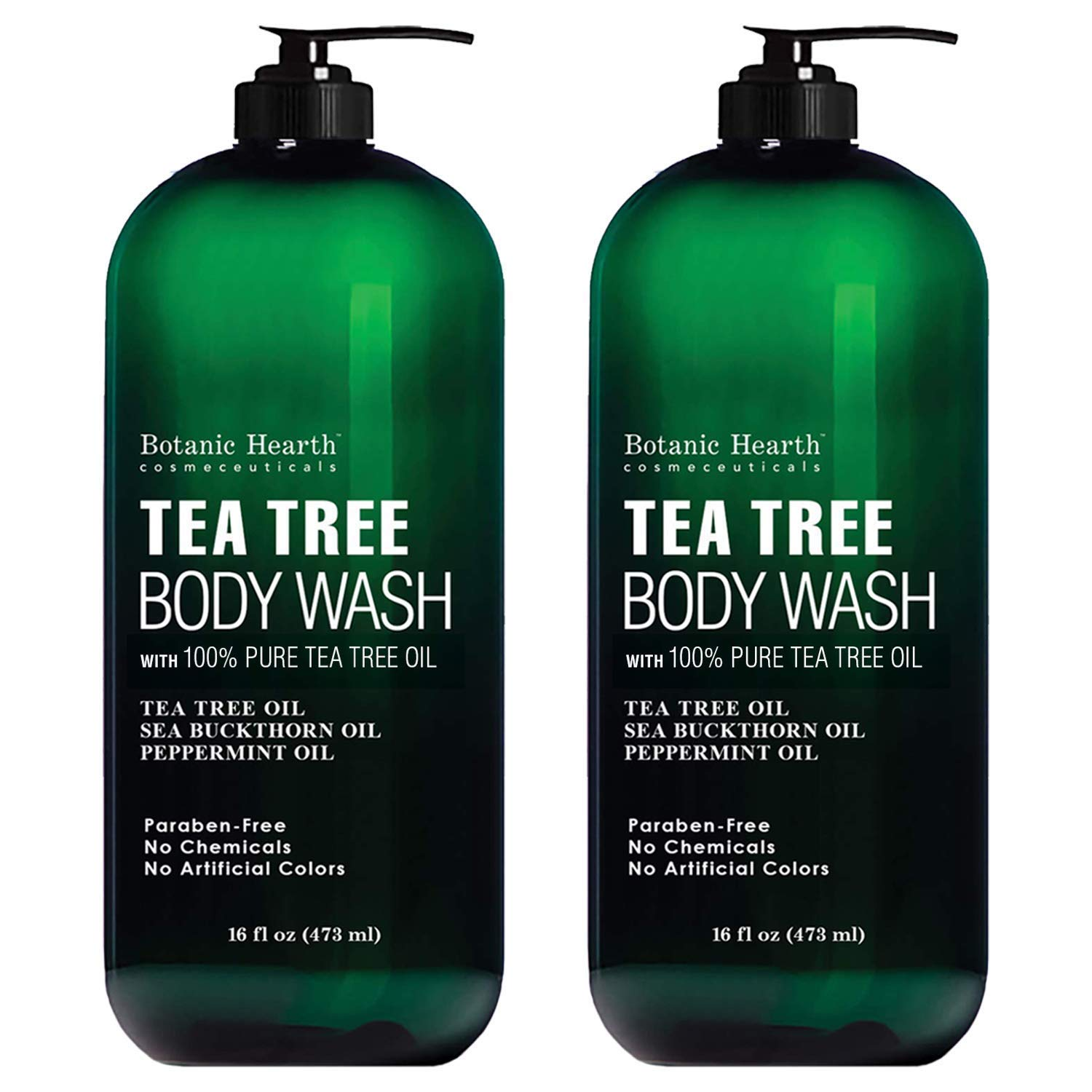 BOTANIC HEARTH Tea Tree Body Wash, Helps Nail Fungus, Athletes Foot, Ringworms, Jock Itch, Acne, Eczema & Body Odor, Soothes Itching & Promotes Healthy Skin and Feet, Naturally Scented, 16fl oz 2 Pack