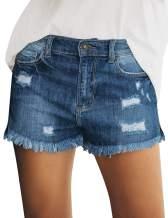 LookbookStore Women's Casual Mid Rise Ripped Denim Shorts Frayed Raw Hem Jeans