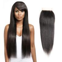 "Puddinghair Free Part Closure Straight Virgin Brazilian Hair 4""x4"" Lace Closure 130% Density Natural Black Unprocessed Human Hair Closure (12"")"