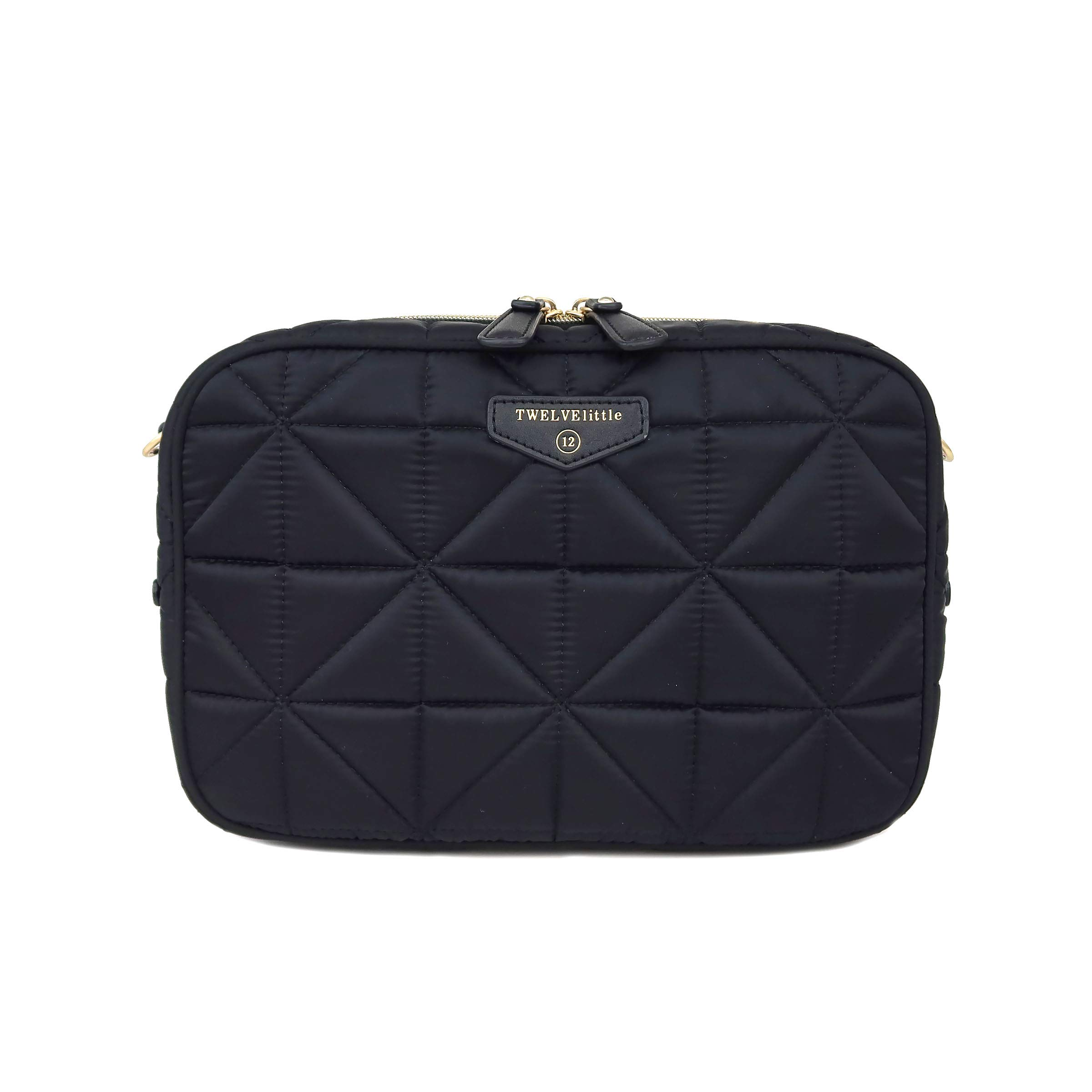 TWELVElittle Diaper Clutch 3.0 (Black - New) - Fashion Diaper Bag for Moms and Dads, Worn As Clutch or Crossover Bag with Compartments for Diapers, Wipes and Changing Pad