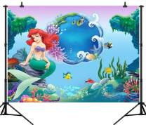CapiSco 8X6FT Mermaid Princess Backdrop Underwater World Colored Fish Seashell Photography Background Themed Banner Baby Girl Party Photo Booth YouTube Backdrop SCO43B
