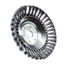 XuSha Steel Wire Wheel Brush Disc Trimmer Head 8 inch Rotary Round Steel Wire Brush Cutter Head Weed Brush Trimmer Head Universal fit Straight Shaft Trimmer