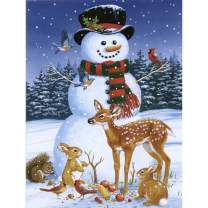 5D Diamond Painting Snow Deer and Snowman at Christmas Full Drill by Number Kits for Adults Kids, SKRYUIE DIY Rhinestone Pasted Paint with Diamond Set Arts Craft Decorations (12x16inch)