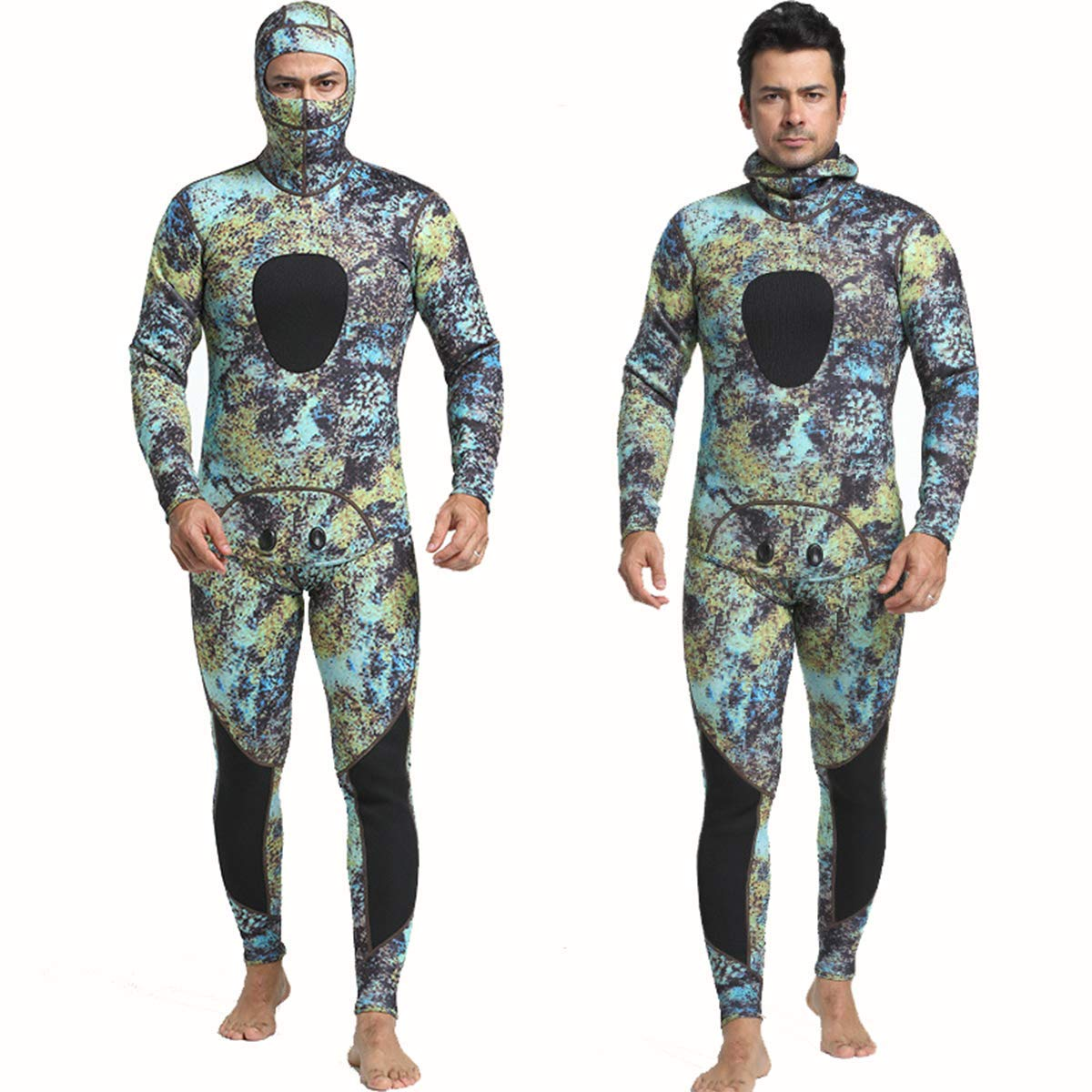 Nataly Osmann 3mm /1.5mm Camouflage Spearfishing Wetsuits 2-Pieces Hooded Scuba Diving Suit for Men