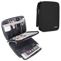 """BUBM Electronic Organizer, Travel Cable Organizer Cord Bag for Earphone, USB Flash Drive, Memory Card and More, Compatible with Up to 9.7"""" iPad or Tablet (X-Large, Black)"""