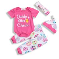 4Pcs Baby Girl Easter Outfits Sets Daddy's Other Chick Easter Egg Easter Chick Print Romper Pants Hat Headband 0-18M