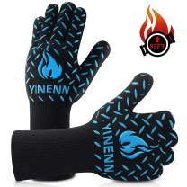 YINENN BBQ Grill Gloves with 932°F Heat Resistance and Insulated Silicone for Barbecue with Grilling,Smoker,Cooking and Oven,Baking,Fireplace,Frying and Kitchen-1 Pairs (13.5''XL)-Blue