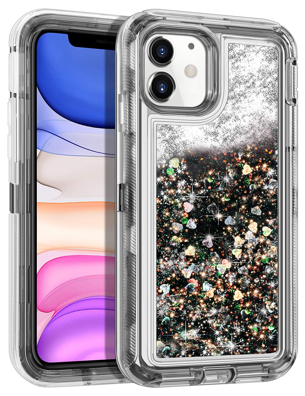 WOLLONY for iPhone 11 Case for Women Glitter Heavy Duty Girly Liquid Bling Quicksand 3 in 1 Hybrid Impact Resistant Shockproof Soft Clear Rubber Protective Cover for iPhone 11 6.1inch Black