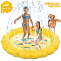 Dillitop Sprinkler for Kids, Splash Pad, Wading Pool and Kiddie Pool, Summer OutdoorWater Play Mat for for Boys Girls Fun Sprinkler Pool Sprinkler Toy Inflatable Spray Pad (Yellow)