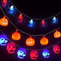 FUN LITTLE TOYS Halloween Decorations 3 Pack Halloween String Lights with Pumpkin, Skull and Spider, 30 LED Lights for Halloween Party Decoration