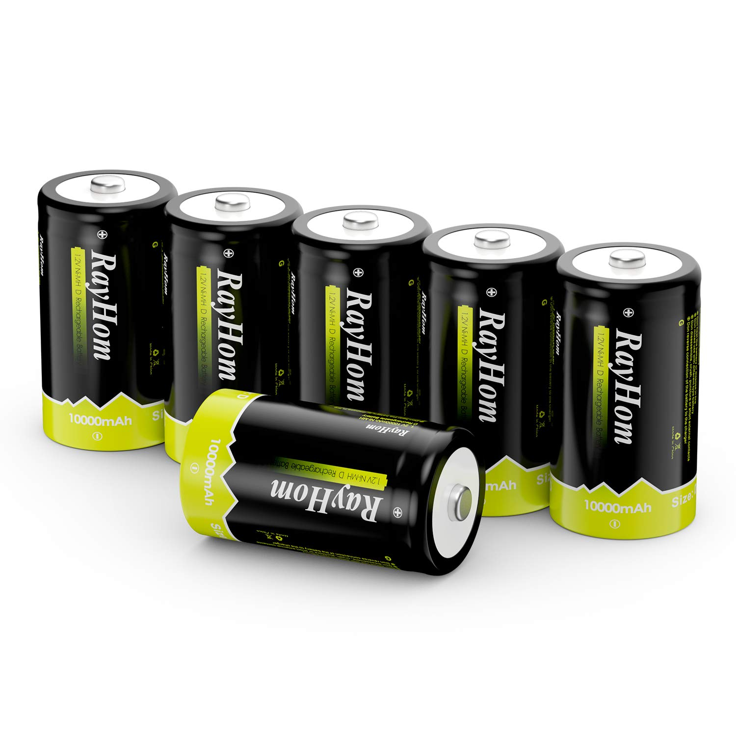 RayHom Rechargeable D Batteries 6Pack - 1.2V 10,000mAh Ni-MH High Capacity High Rate D Cell Size Battery with Box (6 Pack)