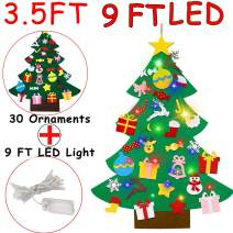 3.5 Feet LED DIY Felt Christmas Tree with 30PCS Detachable Ornaments, Wall Hanging Xmas Gifts for Kids Toddlers Home Wall Door Decoration Christmas Party Supplies