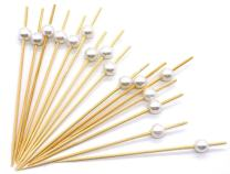 PuTwo Cocktail Toothpicks 300 Counts Cocktail Picks Handmade Natural Bamboo Cocktail Sticks Eco-Friendly Appetizer Skewers for Cocktail Appetizers Fruits Dessert - White Pearls