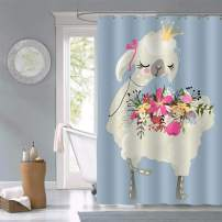MitoVilla Beautiful Dreaming Queen Llama Alpaca with Crown and Flowers Shower Curtain, Gifts for Kids Teens, Polyester Fabric Waterproof Bathroom Accessories, 72 X 84 inches Include Hooks, Blue