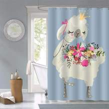 MitoVilla Beautiful Dreaming Queen Llama Alpaca with Crown and Flowers Shower Curtain, Gifts for Kids Teens, Polyester Fabric Waterproof Bathroom Accessories, 72 X 72 inches Include Hooks, Blue