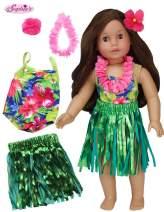 Sophia's Hawaiian Luau 4 Piece Doll Bathing Suit Floral Bathing Suit, Grass Skirt, Lei, Flower Hairpiece for 18 Inch Dolls