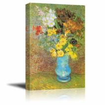 "wall26 Flowers in a Blue Vase, 1887 by Vincent Van Gogh - Canvas Print Wall Art Famous Oil Painting Reproduction - 16"" x 24"""