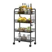 UDEAR 4-Tier Rolling Metal Utility Cart,with Roller Wheels Mobile Storage Organizer,Black