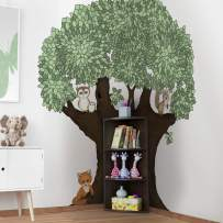 Kids Giant Tree Wall Decor with Wood Corner Bookshelf Trunk - nursery, bedroom, childcare, classroom, living room - Storage organizer for books, toys, Lego & art supplies, shelves for family playroom