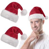3 Pack Premium Santa Hats Adults Big Santa Hat Comfort Double Liner Plush Red Velvet Christmas Hats with White Cuffs
