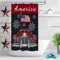 LB Texas Star Shower Curtain American Flag Fireworks with Vintage Car Shower Curtain for Patriotic US Independence Day Party Decor Shower Curtain 60x72 Inch Waterproof Polyester Fabric with 10 Hooks