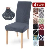 SearchI Jacquard Dining Room Chair Covers Slipcovers Set of 4, Spandex Fabric Fit Stretch Removable Washable Short Parsons Kitchen Chair Covers Protector for Dining Room (Gray, 4 per Set)
