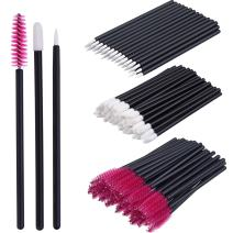 eBoot 150 Pieces Disposable Lip Brushes Lipstick Gloss Applicator Wands Eyeliner Brushes Eyelash Mascara Brushes Makeup Tool Kits (Rose Red)