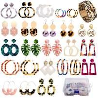 Earrings Set for Women Girls, FIFATA 24 Pairs Acrylic Hoop Earrings Fashion Mottled Resin Statement Drop Dangle Earrings Polygonal Boho Fun Costume Jewelry