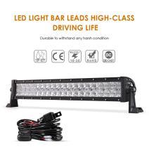 "Auxbeam 22"" LED Light Bar 120W LED Driving Light Off-Road Lights Spot Flood Combo Work Light Fog Lamp 5D Lens with Wiring Harness for SUV, ATV, UTV, Jeep, Vehicle, Pickup"