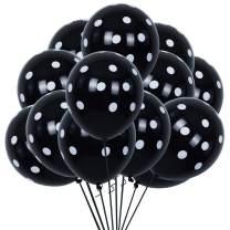 100pcs Black Polka Dots Balloons 12inch Large Polka Dot Latex Party Balloons for Wedding Birthday Party Festival Decoration Supplies