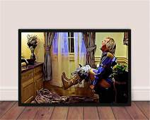 DOLUDO Movie Poster Toilet Horizontal Canvas Wall Art Painting Room Decor -Funny Bathroom Comedy Home Art for Bedroom Shower Room Living Room No Frame Print on Canvas Painting 16x24inch