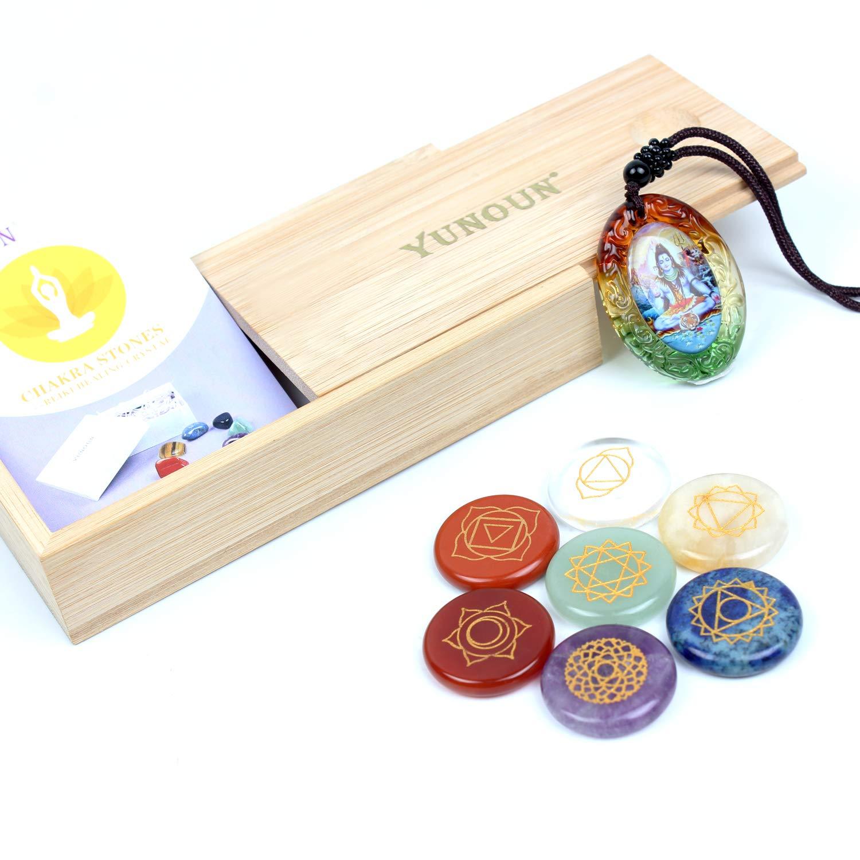 Yunoun 7 Engraved Chakra Symbols Stones, Chakra Crystal Set, Healing Crystal, Healing - 7 Chakra Set